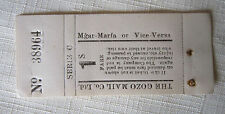MALTA GOZO FERRY OLD TICKET~MGAR TO MARFA~GOZO MAIL Co.LTD