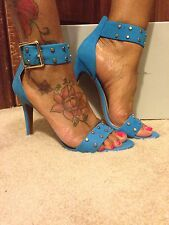 NWT JESSICA SIMPSON BLUE LEATHER SILVER STUD ANKLE STRAP HEELS 6.5