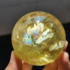 200g52mmRainbow!! NATURAL Citrine Quartz Crystal Sphere Ball Healing/Stand