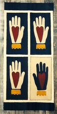 PRIMITIVE WOOL PENNY RUG PATTERN HEART IN HAND VALENTINE'S DAY  *NEW*
