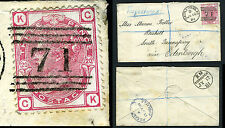 1873-80  3d Rose Plate 20 Used on envelope V65820