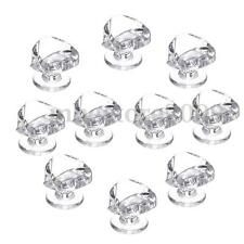 10x Diamond Shape Crystal Glass Cabinet Knob Cupboard Drawer Pull Handle Plastic
