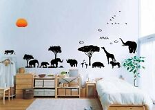 Wall Stickers zoo tree Africa elephant  Decor Decal Removable Nursery Kids pvc