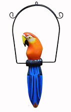 Bali Tropical Parrot Statue Bird Wood Carving Tiki Bar Safari Jungle Decor 16""