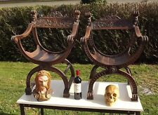 Antique French Gothic pair Chair STUNNING Faun Satyr Charlemagne Wiking Medieval