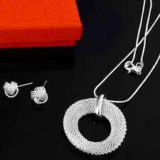 women 925 silver Plated Fashion Beautiful pretty Mesh Necklace Earring set P54