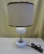 """Vintage Milk Glass Hobnail & Brass Accent Table Lamp W/ Tweed Look Shade 14"""" #1"""