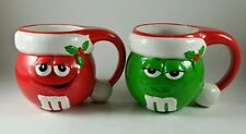 M&M's Christmas Mugs Red & Green Pair with Santa Hats Mistletoe Male and Female