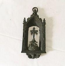 Ancien Reliquaire Bronze Patiné Crucifix Vierge Christ Bénitier Eglise Gothique