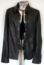 Dirk Bikkembergs Black Leather Shirt EU52 Large / XL RRP £745 Jacket Sheepskin