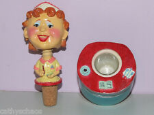 Ceramic Bobble Head Retro Diner Waitress Wine Wobbler Cork Bottle Stopper Wobble