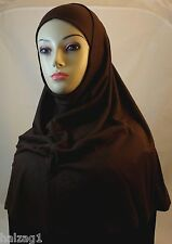 New Two Piece Egyptian Cotton Hijab Amira Islamic Head Scarf Hejab - Brown Color