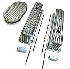 "SBC 350 Chevy Tall Polished Aluminum Finned Valve Covers & 15"" Air Cleaner Kit"