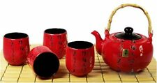 NEW Japanese Teapot & Cup Set, Porcelain Kettle Tea Pot & 4 Cups Calligraphy Red
