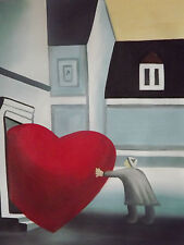 Bring The Love To Your House Large Oil Painting Canvas Romantic Heart Original