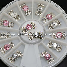 2 Colors Alloy Bow Tie Jewelry 3D DIY Rhinestone Nail Art Glitters Slices EB-026