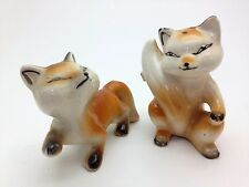 Vintage Salt and Pepper Shakers Pair of Red Fox Made in Japan