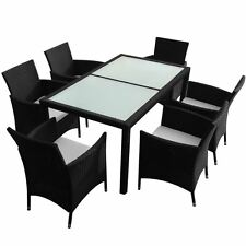 7-Piece Outdoor Patio Rattan Furniture Garden Dining Set w/ Cushions Black