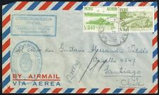 3926 PERU TO CHILE DIPLOMATIC REGISTERED AIR MAIL COVER 1956 ARGENTINA EMBASSY