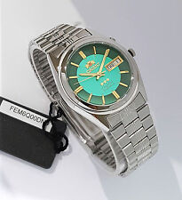 ORIENT 3 Star Automatic Watch Mens SILVER tone Green Dial FEM6Q00DN9 New