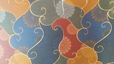 ART DECO BLUE RED GREEN GOLD SWIRL FLORAL DRAPERY UPHOLSTERY FABRIC