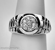 Men's Rolex 14K White Gold Diamond Cluster Ring
