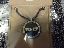 "TEEN TOP CORDED NECKLACE LOGO NEW 18"" inch Black and Steel Charm KPOP K-POP"