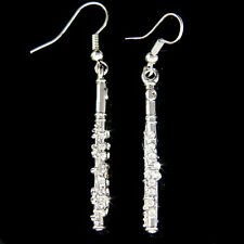 w Swarovski Crystal Flute Woodwind Music Musical Instrument Earrings Jewelry New