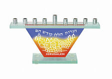 Glass MENORAH - - -Jerusalem jewish chanukah judaica metal hanukka Candle menora