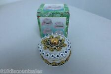 Antique Porcelain Hand Made Green Gold White Crystal Jewelry Trinket Box Round