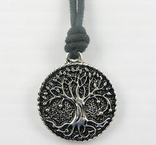 "Tree of Life Pendant on a Black Surfer Cord Necklace Adjustable 16"" to 24"" Long"