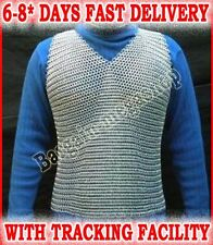 MILD STEEL SLEEVES LESS  CHAIN MAIL CHAINMAIL  SHIRT BUTTED ZINK PLATED SCA LARP