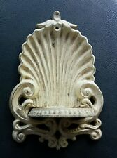 Vintage Cast Iron Wall Sconce Off White Distressed Ornate Hanger Beaded Shelf