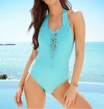 Kenneth Cole One Piece Sz L Aqua Blue Swimsuit Halter Swimwear Swim RS5JJ10