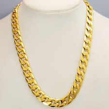 18k Yellow Gold Filled 10MM Men's Necklace 24inch Curb Link 68g Chain GF Jewelry