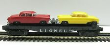 Lionel 6424 O Gauge Flat Car with 2 Autos Yellow and Red