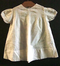 """Vintage Infant Doll Linen White Embroidered Dress Capped Sleeves ~15"""" Long"""