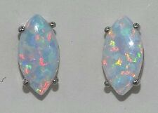 Opal Marquise 10x5mm Stud Earrings .925 Sterling Silver