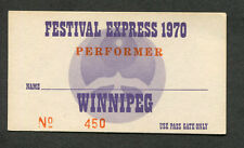 1970 Festival Express concert ticket pass Janis Joplin Grateful Dead Winnipeg