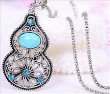 Tibet Silver Hollow Flower Crystal Turquoise Gourd Shaped Pendant Necklace gift