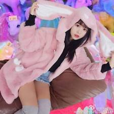Winter Kawaii Japanese Sweet Lolita Rabbit Ears Plush Sweater Hoodie Jacket Coat