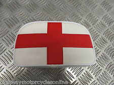 VESPA PX LAMBRETTA BOLT ON REAR BACKREST CARRIER RACK PAD ST. GEORGE FLAG