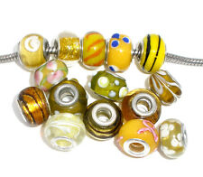 20 YELLOW European Murano Glass Beads FITS Charm Bracelet Jewelry