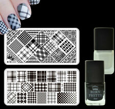 Grids Nail Art Stamp Image Plates Kit Black White Color Stamping Polish Varnish