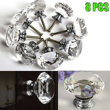 8pcs 40mm Diamond Crystal Glass Door Knobs Drawer Cabinet Furniture Kitchen UK