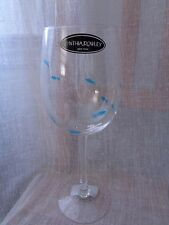 Cynthia Rowley Stemware Wine Goblet Glasses Etched Blue & Clear Fish SET OF 4