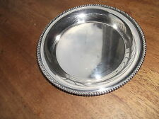 VINTAGE SILVER PLATED TRAY DISH COASTER BEADED RIM MASONIC STAMP TRIDENT & 4