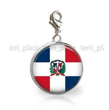Dominican Republic Flag Glass Top 20mm Clip On Charm for Bracelet Country Flags