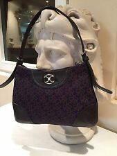 AUTHENTIC DKNY CANVAS LEATHER BROWN PURPLE  EVENING HANDBAG SHOULDER BAG USA