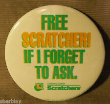 FREE SCRATCHER LOTTO CALIFORNIA LOTTERY Button Badge Pinback